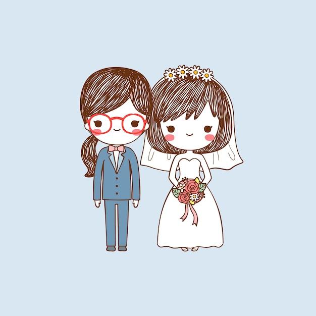 Ritratto carino sposa e lo sposo lesbiche in stile piano Vettore Premium