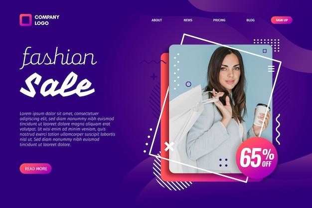 Ritratto della pagina di destinazione di vendita di moda donna Vettore gratuito