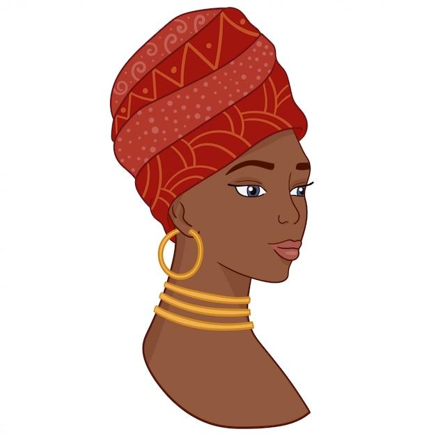 Ritratto di bella donna africana in turbante tradizionale. Vettore Premium