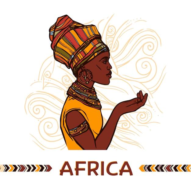 Ritratto di donna africana Vettore Premium