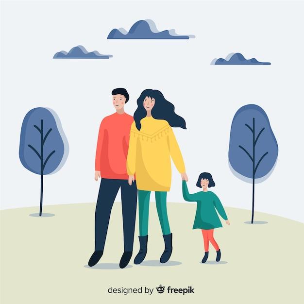 Ritratto di famiglia all'aperto disegnato a mano Vettore gratuito