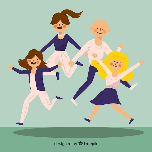 Ritratto di famiglia di salto disegnato a mano Vettore gratuito