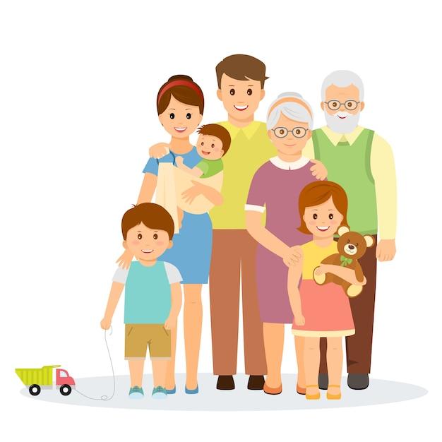 Ritratto di famiglia in stile piano. famiglia sorridente con genitori, bambini e nonni Vettore Premium