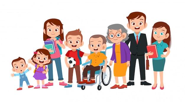 Ritratto di famiglia insieme Vettore Premium