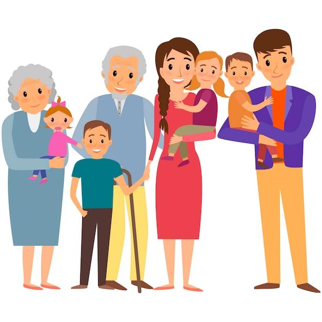Ritratto di grande famiglia. famiglia felice con bambini e nonni Vettore Premium