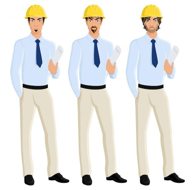 Ritratto di ingegneri attraenti degli uomini attraente in casco con carta di progettazione illustrazione vettoriale isolato Vettore gratuito