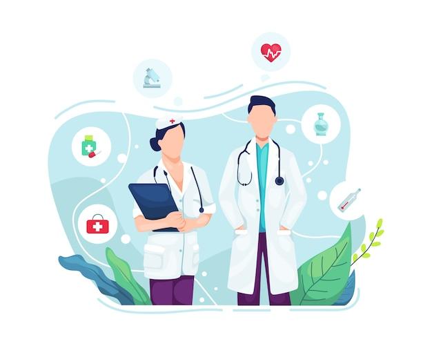 Ritratto di medico e infermiere Vettore Premium
