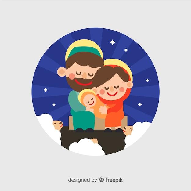 Ritratto di natività sorridente della famiglia Vettore gratuito