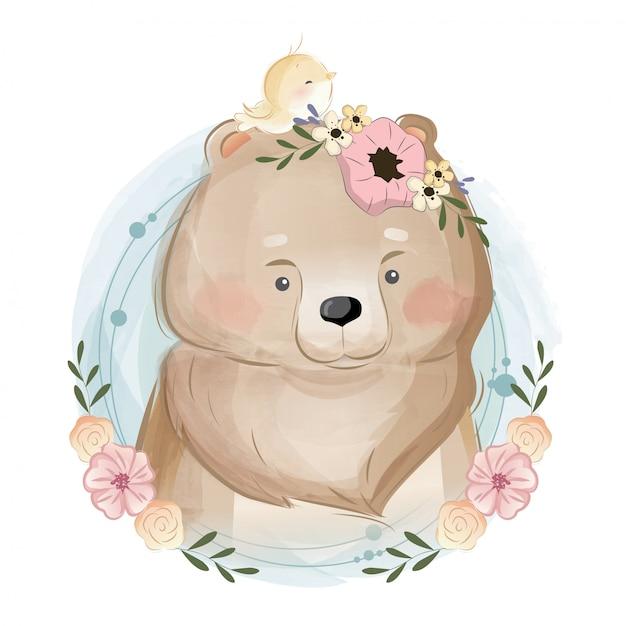 Ritratto di orso carino Vettore Premium