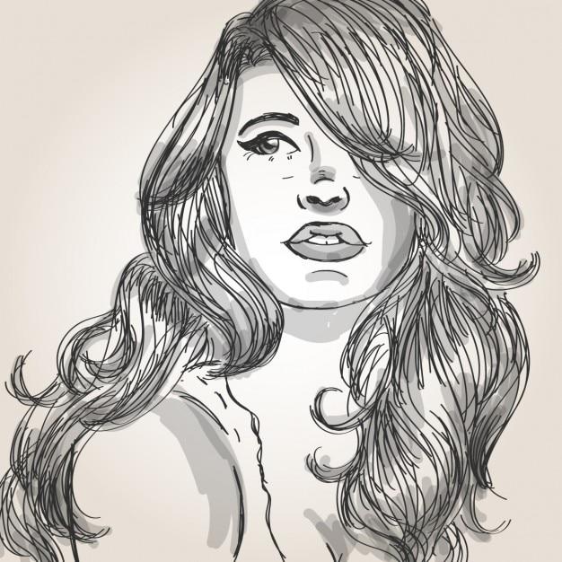 Ritratto di una bella donna con i capelli belli Vettore gratuito