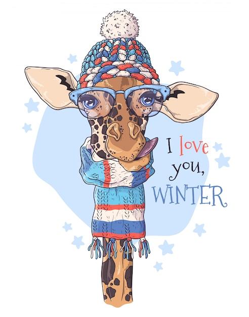 Ritratto disegnato a mano della giraffa in accessori di natale Vettore Premium