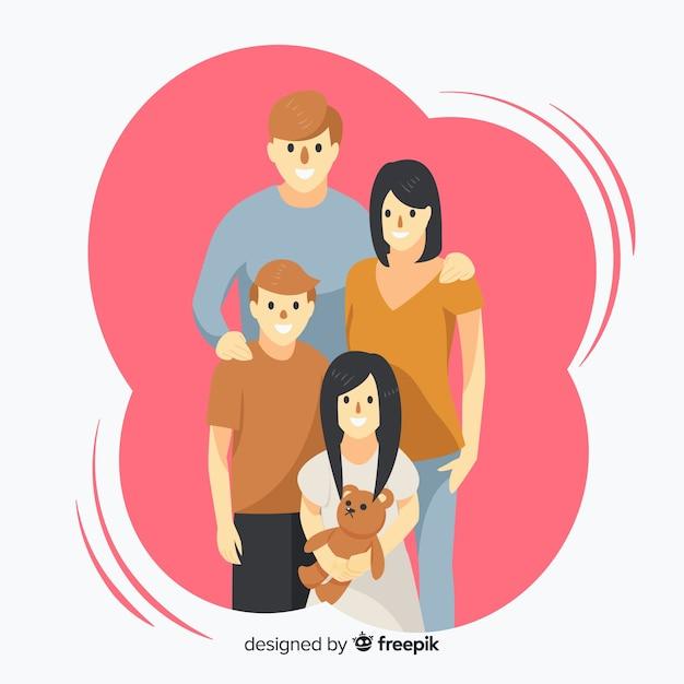 Ritratto familiare disegnato a mano Vettore gratuito
