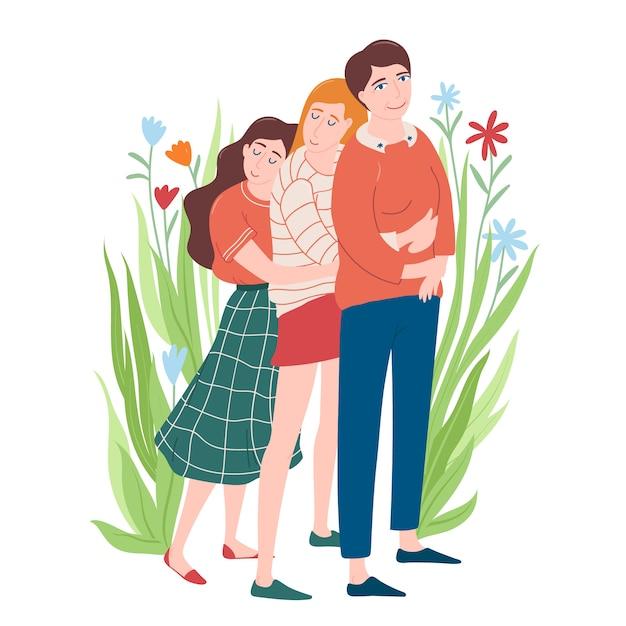 Ritratto integrale di due giovani donne che si abbracciano e la loro mamma, sentirsi felici, madre e figlia Vettore Premium