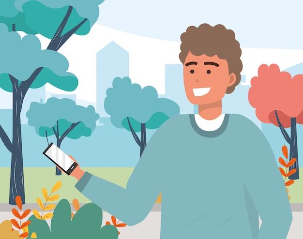 Ritratto mandante un sms millenario dello smartphone del giovane Vettore Premium