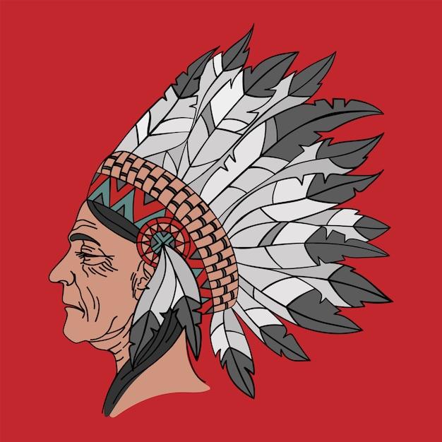 Ritratto nativo americano della donna indiana Vettore Premium