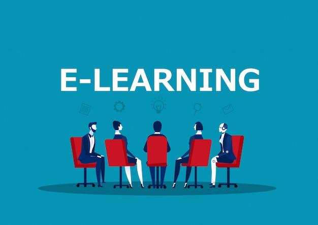 Riunione d'affari di gruppo per conoscenza online Vettore Premium