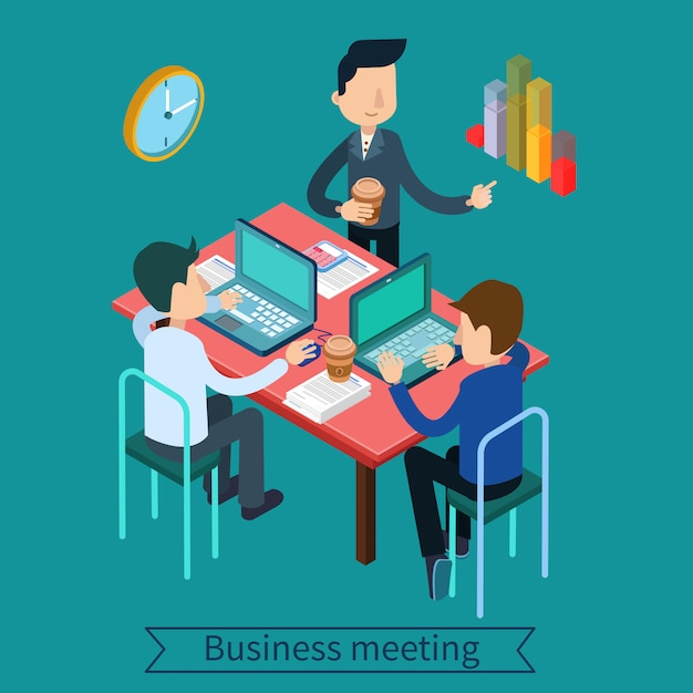 Riunione d'affari e concetto isometrico di lavoro di squadra. impiegati con computer portatili e documenti Vettore Premium