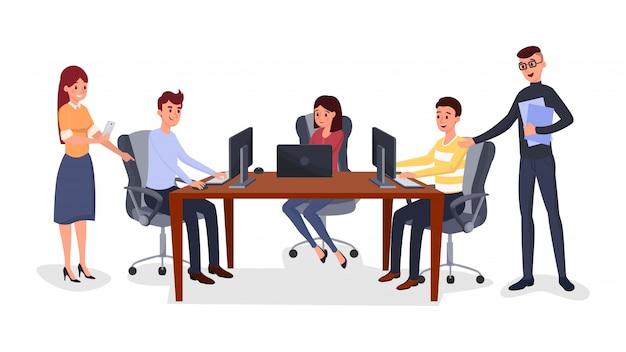 Riunione d'affari, gestione della squadra Vettore Premium