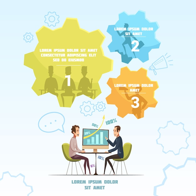 Riunione dell'insieme infographic con l'illustrazione di vettore del fumetto di simboli di conversazione e di discussione Vettore gratuito