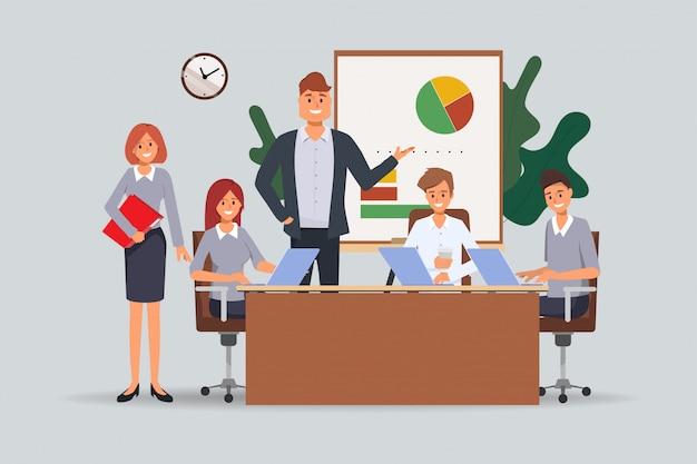 Riunione di seminario di lavoro di squadra della gente di affari all'ufficio. Vettore Premium