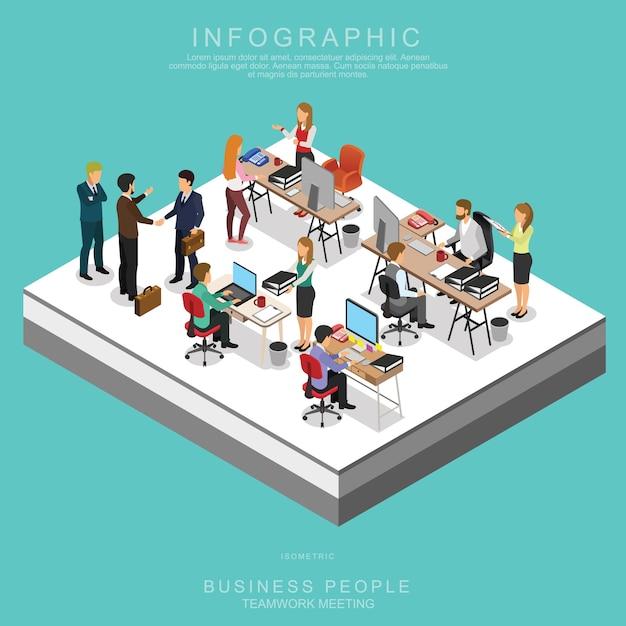 Riunione di squadra di gruppo di persone di affari isometrici in ufficio Vettore Premium