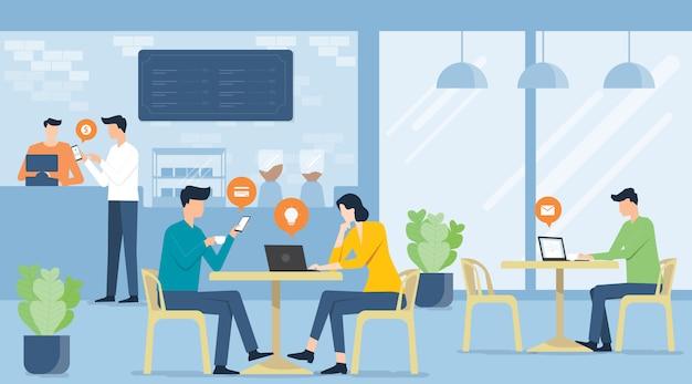 Riunione di squadra piana di affari di vettore che lavora nel negozio di caffè e concetto di lavoro futuro di affari Vettore Premium
