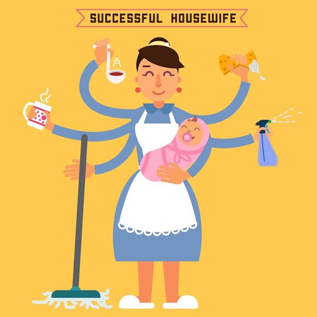 Riuscita casalinga. donna di successo donna multitasking. moglie perfetta super-mamma. madre multitasking. donna con bambino illustrazione vettoriale stile piatto Vettore Premium