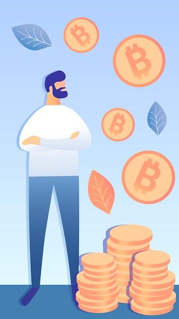 Riuscito illustrazione vettoriale di investimento bitcoin Vettore Premium