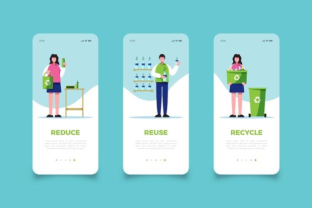 Riutilizza le schermate dell'app mobile garbage Vettore gratuito