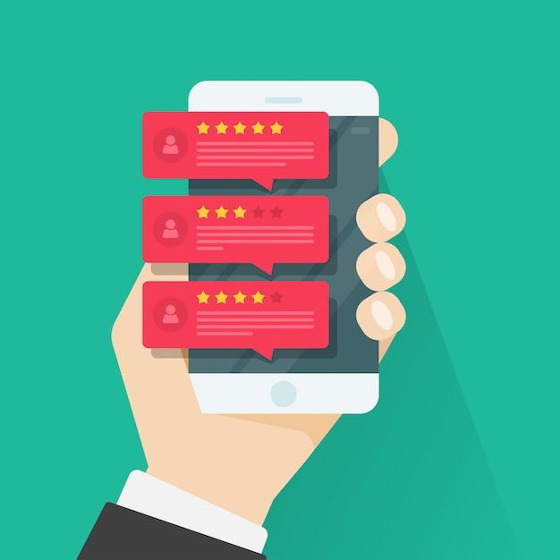 Rivedi i messaggi di valutazione o di feedback testimonianze su smartphone Vettore Premium