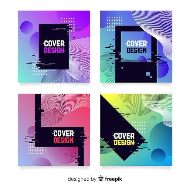Rivestimenti di design con effetto glitch colorato Vettore gratuito