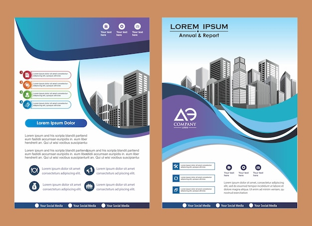 Rivista di brochure di copertina creativa Vettore Premium