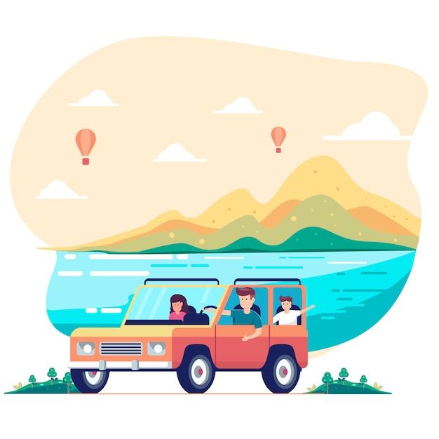 Road trip con la famiglia. padre, madre, figlio Vettore Premium