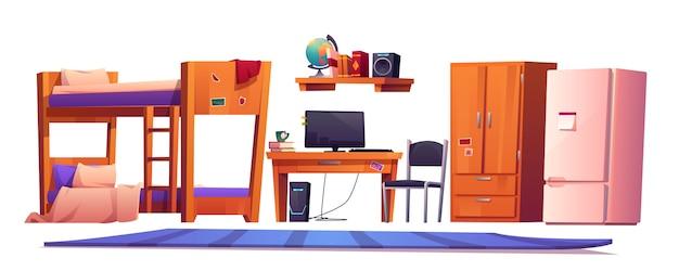 Roba interna in ostello o dormitorio per studenti Vettore gratuito