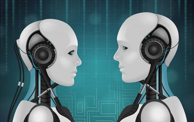 Robot android realistica composizione 3d con teste di personaggi antropomorfi con fili e facce di plastica Vettore gratuito
