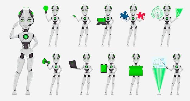 Robot con intelligenza artificiale, robot femmina Vettore Premium