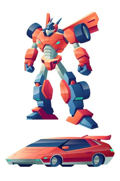 Robot da combattimento rosso capace di trasformarsi nel cartone animato di auto sportive Vettore gratuito