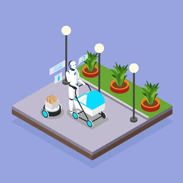 Robot domestici che si occupano della composizione isometrica del fondo dei bambini con la babysitter umanoide che cammina con la carrozzina Vettore gratuito