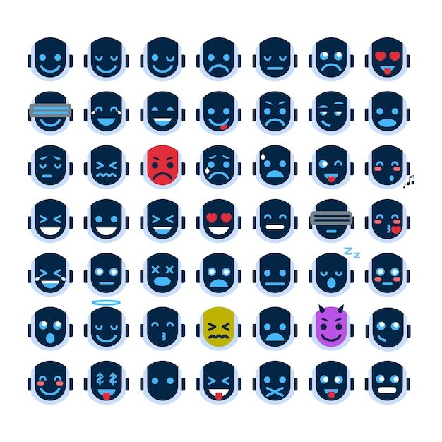 Robot face icons set smiling faces different emotion collection robotica emoji Vettore Premium
