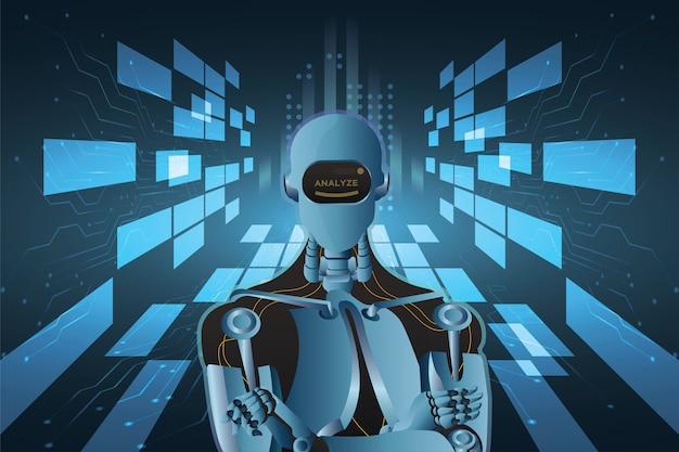 Robot futuristico astratto di intelligenza artificiale con stile del circuito Vettore Premium