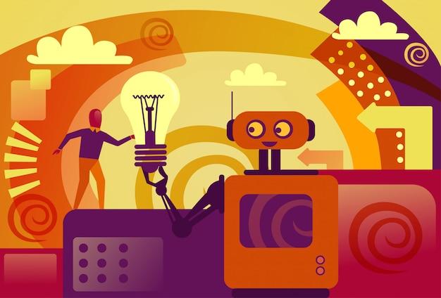 Robot giving business man light intelligence artificiale e nuovo concetto di sviluppo idea Vettore Premium
