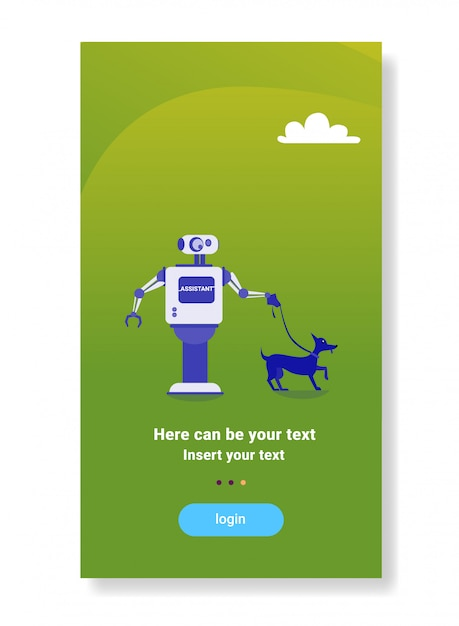 Robot moderno a piedi dog house helper bot futuristica tecnologia di intelligenza artificiale meccanismo Vettore Premium