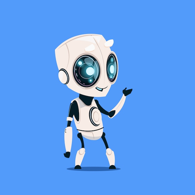 Robot moderno isolato su sfondo blu cute cartoon character artificial intelligence concept Vettore Premium