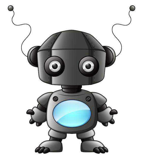 Robot simpatico cartone animato nero isolato su sfondo bianco