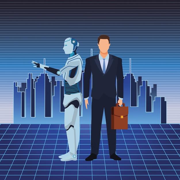 Robot umanoide e uomo d'affari Vettore Premium