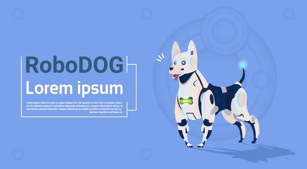 Robotic dog cute domestic modern modern robot pet intelligenza artificiale Vettore Premium