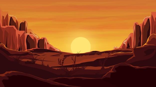 Rocce nel deserto, tramonto arancione, montagne, sabbia, bel cielo. Vettore Premium
