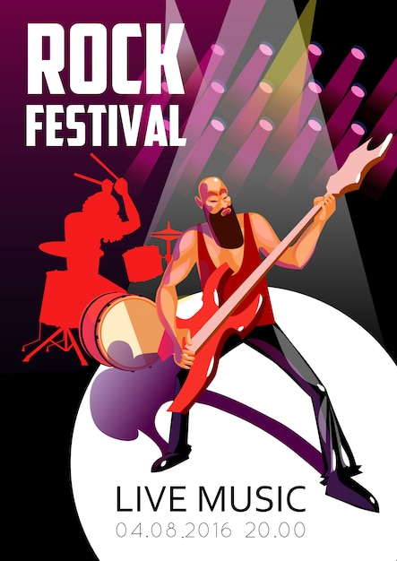 Rock festival cartoon poster Vettore gratuito