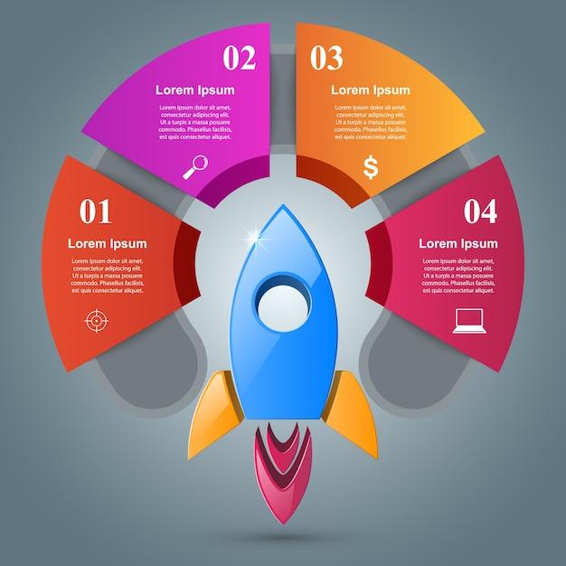 Rocket infographic Vettore Premium