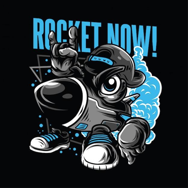Rocket now! illustrazione Vettore Premium